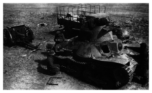 Soviet troops examine a disabled Japanese Ha-Go tank in the aftermath if the Battle of Khalin Gol, November 1939.
